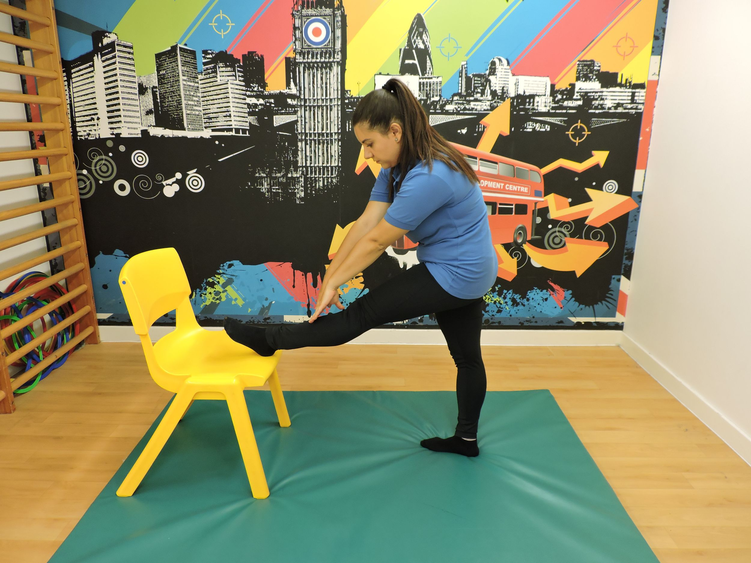 Single Hamstring stretch with a chair.JPG